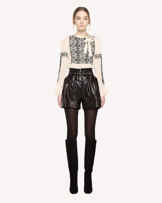 REDValentino Silk top with cross-stitch detailing