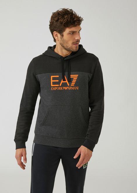 Felpa bicolore con cappuccio e logo EA7