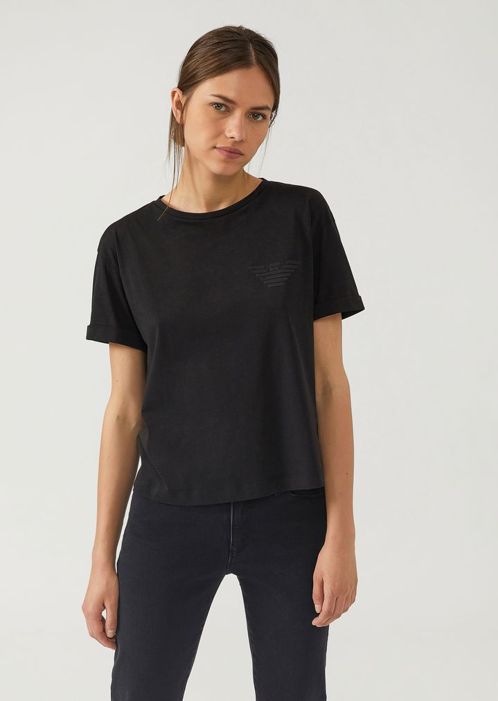 152f122b1e Cotton jersey T-shirt with sequin logo | Woman | Emporio Armani