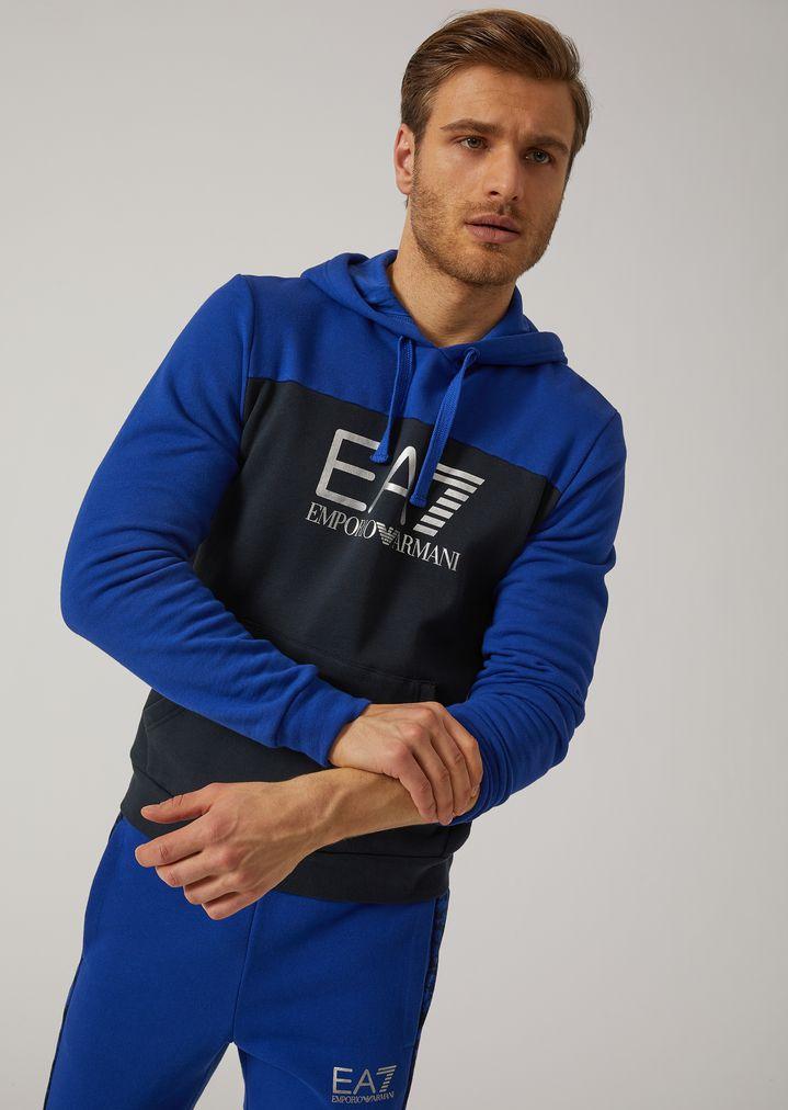 Sweat Shirt Et Homme Bicolore Ea7 Logo À Capuche OOdwrxPTq