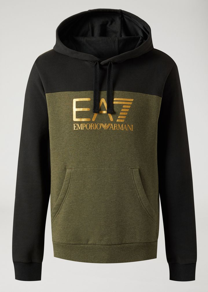 Two-tone sweatshirt with hood and EA7 logo  b84437ac6
