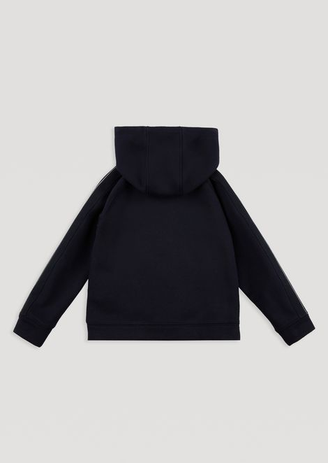 Hooded sweatshirt with zip and contrasting printed logo