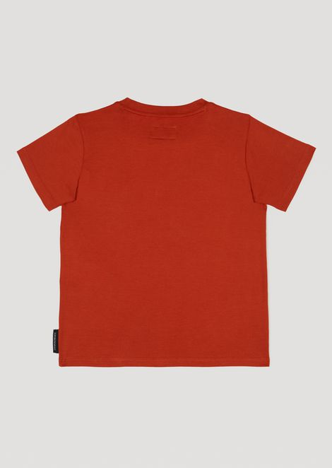 Cotton jersey T-shirt with camouflage logo