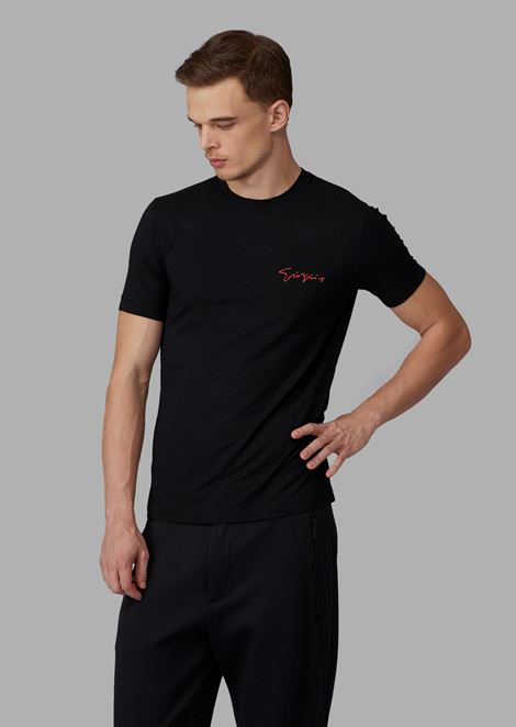 Viscose jersey T-shirt with Giorgio's embroidery