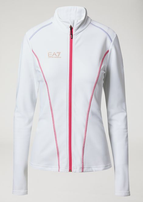 Breathable stretch technical ski fleece with zip