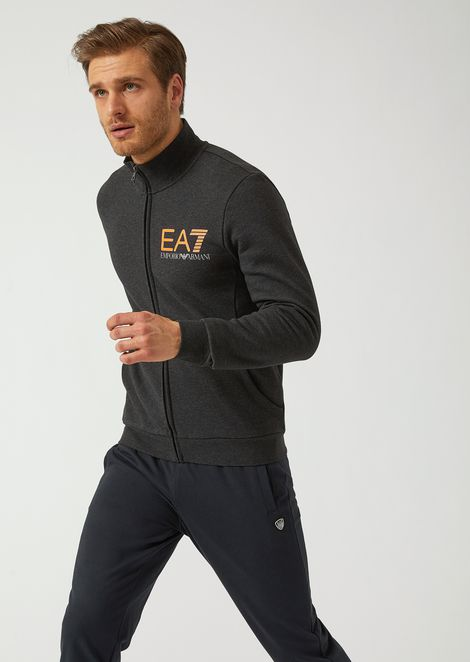 Stretch cotton sweatshirt with zip and EA7 logo print bc191a5c35a