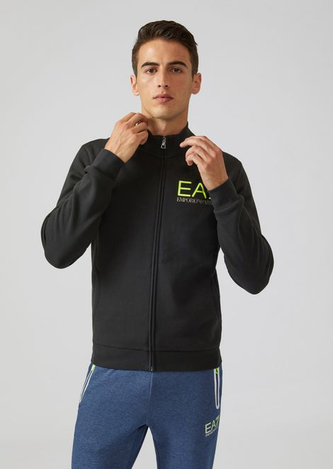 Stretch cotton sweatshirt with zip and EA7 logo print