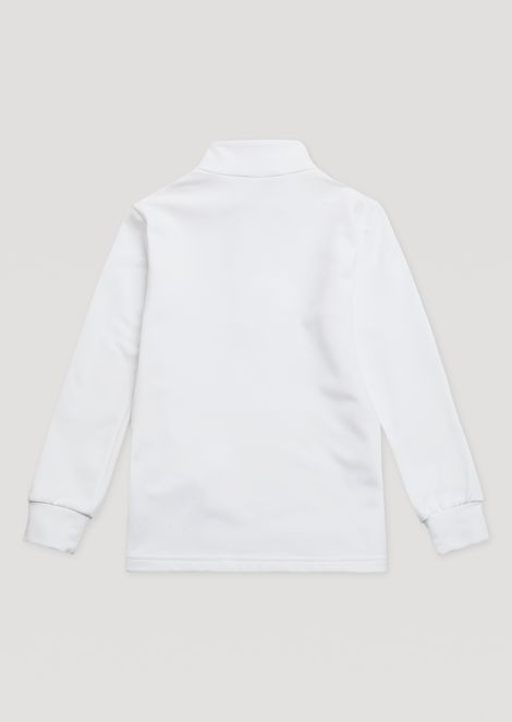 Boys' sweatshirt with half zip and coloured stitching