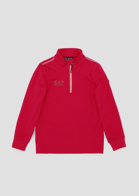 Boys' sweatshirt with half zip and colored stitching