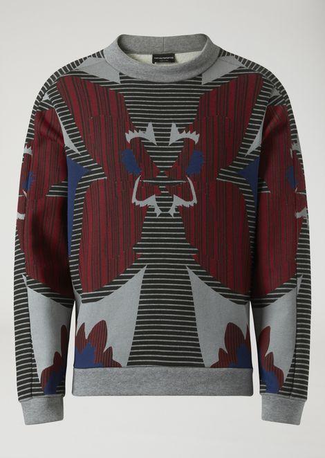 Cotton sweatshirt with optical-effect print