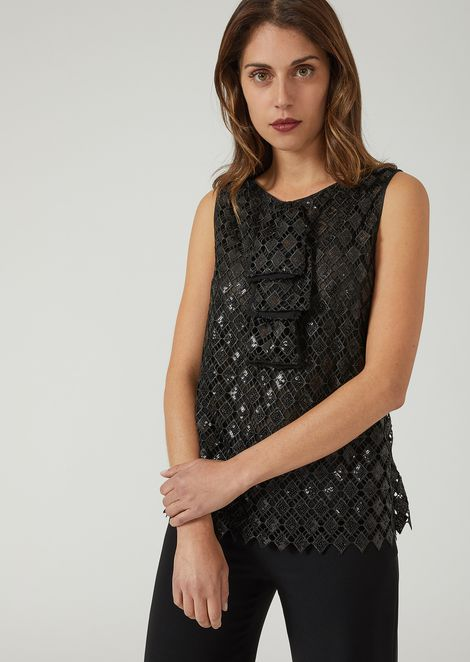 Macramé top with sequin embroidery and front ruffle