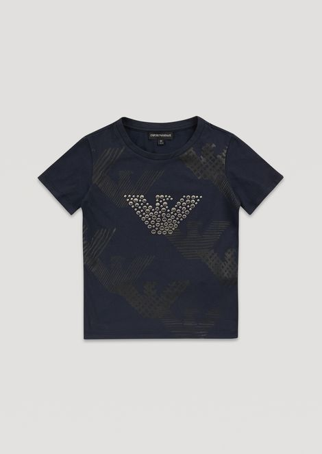 T-shirt with eagle print and studs