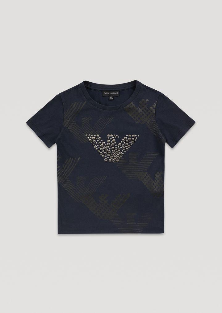 d23e216d520 T-shirt avec imprimé aigles et clous appliqués