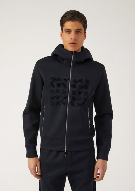 Zipped hooded sweatshirt with print and flocked details