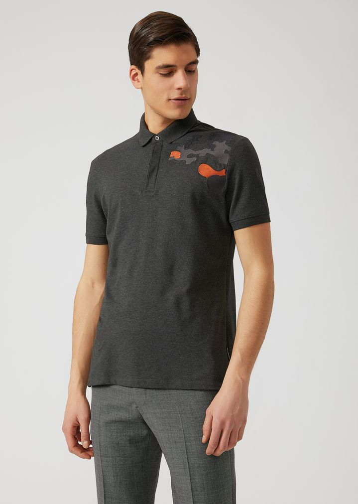 363f19d75 Jersey polo shirt with camouflage detail on the shoulder