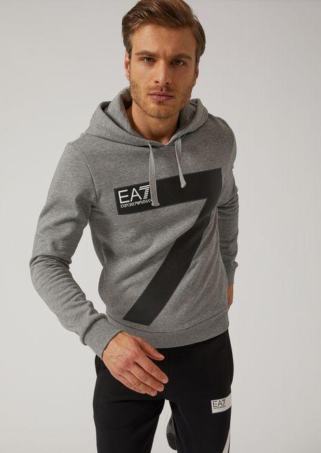Sweatshirt with hood and EA7 logo print