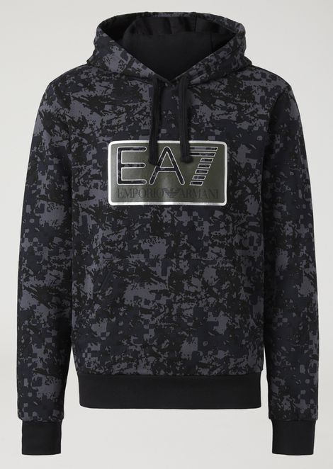 Sweatshirt with camouflage pattern and EA7 logo