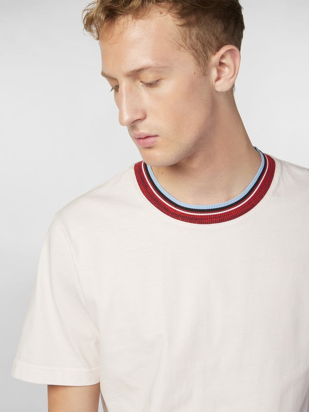 Marni T-shirt in white cotton jersey with striped collar Man - 4