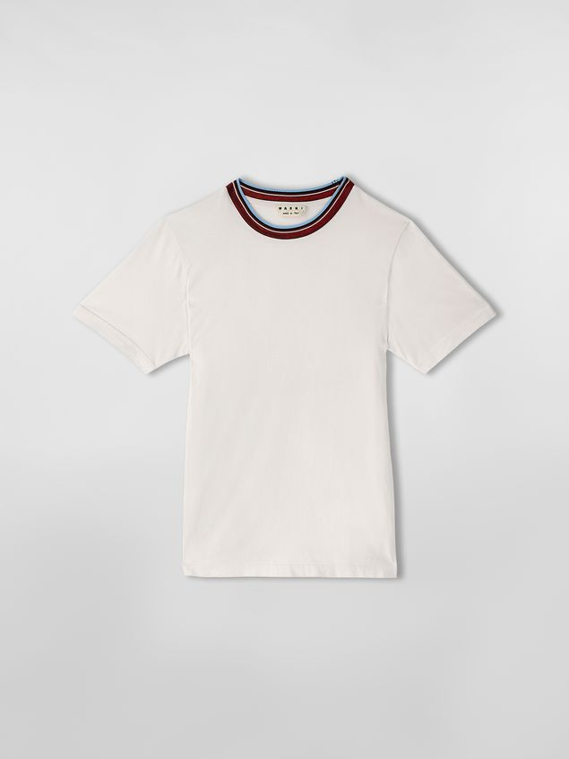 Marni T-shirt in white cotton jersey with striped collar Man - 2