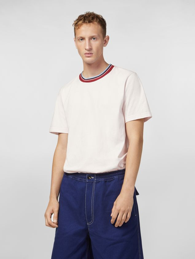 Marni T-shirt in white cotton jersey with striped collar Man - 1
