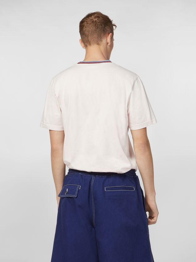 Marni T-shirt in white cotton jersey with striped collar Man - 3