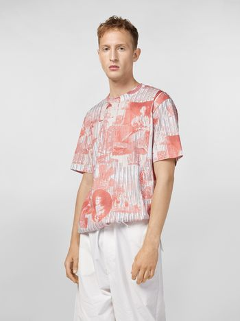Marni T-shirt in lightweight cotton jersey; Portrait print Man