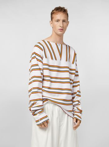 Marni T-shirt in cotone rigato tinto filo a costine Uomo