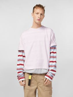 Marni T-shirt in cotton jersey pink and grey  Man