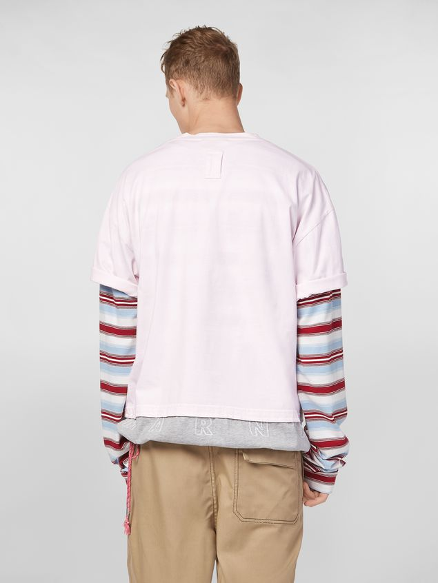 Marni T-shirt in cotton jersey pink and gray  Man
