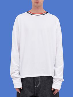 Marni Long-sleeved T-shirt in jersey with striped nylon crew-neck Man