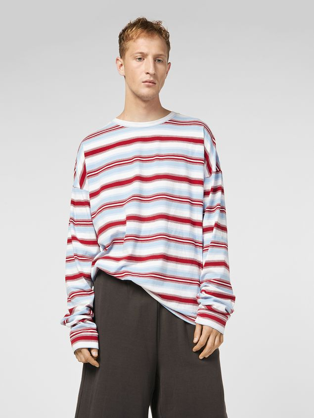 Marni T-shirt in striped cotton jersey Man - 1