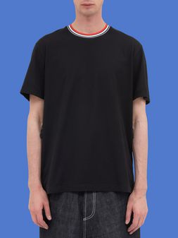 Marni Short-sleeved T-shirt in black jersey with crew-neck in striped nylon Man