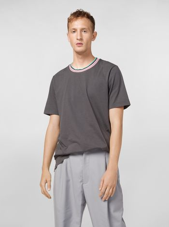 Marni T-shirt in gray cotton jersey with striped collar Man