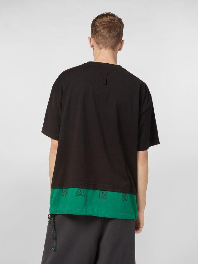 Marni T-Shirt aus Baumwoll-Jerseystoff in Schwarz und Grün Herren