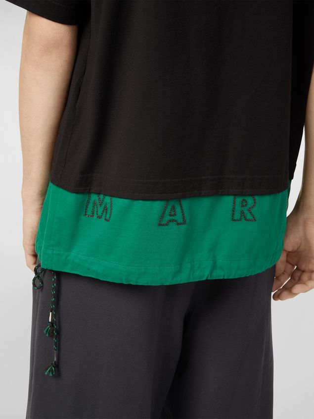 Marni T-shirt in cotton jersey black and green Man - 4