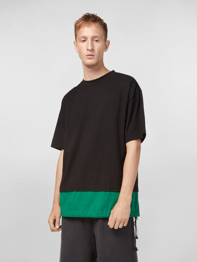 Marni T-shirt in cotton jersey black and green Man - 1