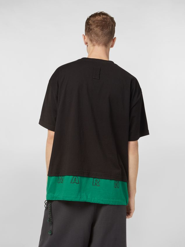 Marni T-shirt in cotton jersey black and green Man - 3