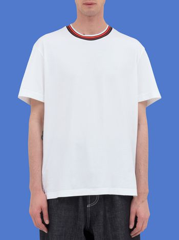 Marni Short-sleeved T-shirt in white jersey with crew-neck in striped nylon Man