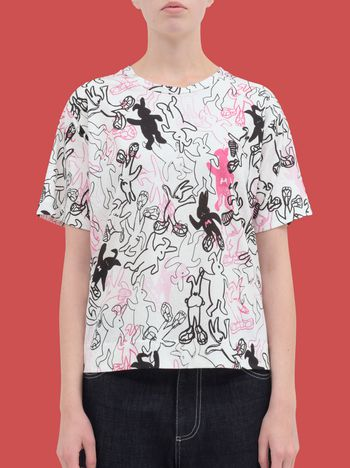 Marni T-shirt in cotton jersey with all-over Dance Bunny print Woman