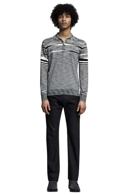 MISSONI Long-sleeved polo shirt White Man - Back