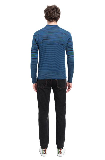 MISSONI Long-sleeved polo shirt Blue Man - Front
