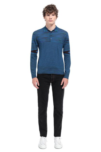 MISSONI Long-sleeved polo shirt Blue Man - Back