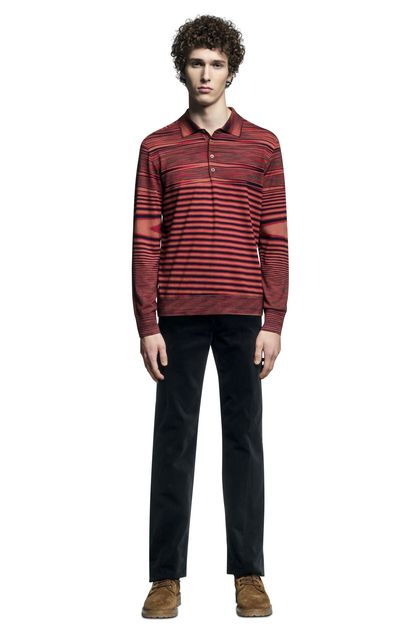 MISSONI Long-sleeved polo shirt Brick red Man - Back