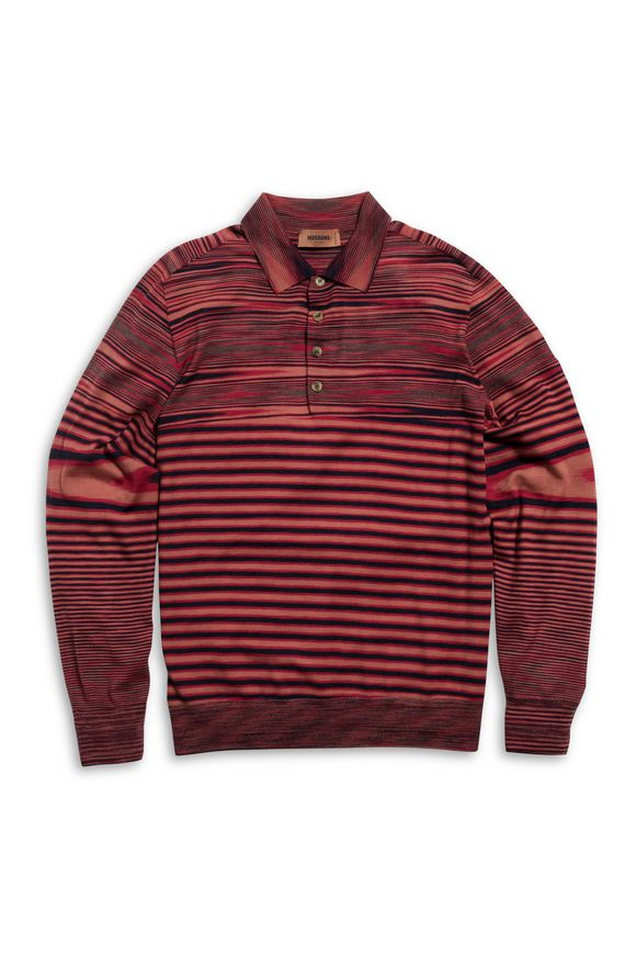 MISSONI Long-sleeved polo shirt Brick red Man