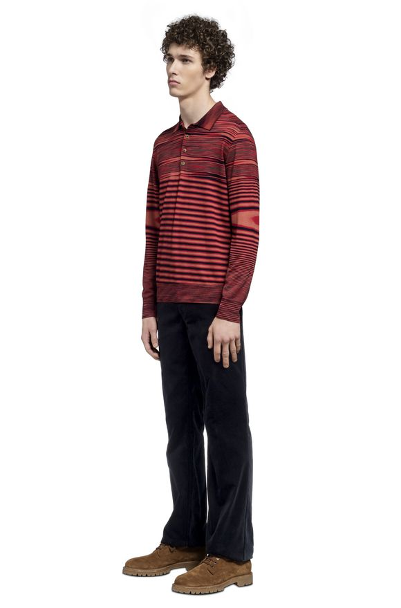 MISSONI Long-sleeved polo shirt Man, Side view