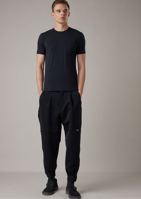 Stretch viscose jersey T-shirt with embroidered pocket