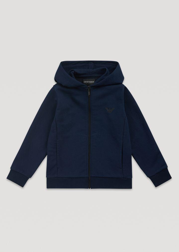 Sweat-shirt zippé à capuche en molleton de coton   Homme   Emporio Armani 7149899f763b