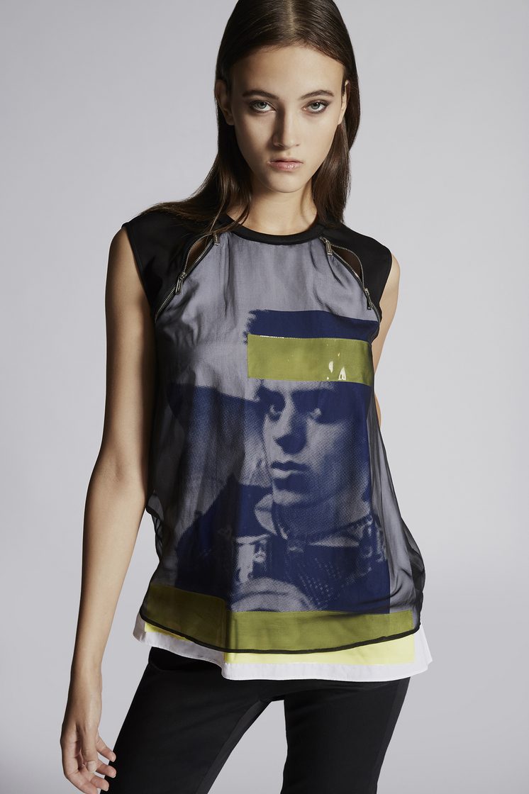 DSQUARED2 Silk Chiffon Hidden Dean Vicious Sleeveless Top Top Woman