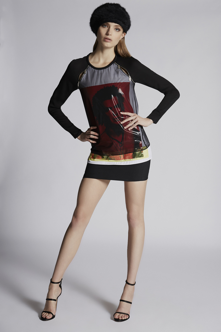 DSQUARED2 Silk Chiffon Hidden Dan Vicious Long Sleeves Top Top Woman