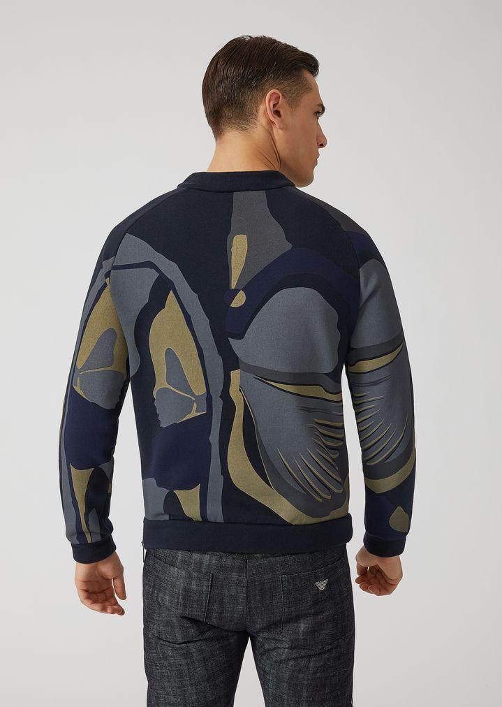 f6da3499e8 Cotton gauze sweatshirt with all-over print | Man | Emporio Armani